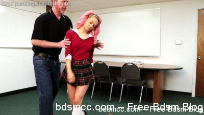 Real Spankings Institute - Kiki's Classroom Behavior is Addressed by the Dean (Part 1)