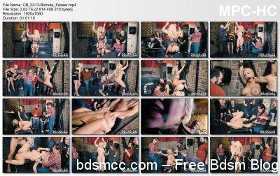 CrowdBondage - Curvy Blondie Fesser dominated in BDSM group scene